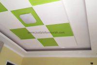 Atap Plafon Modern Minimalis dari GRC Model Baki Warna Hijau Putih