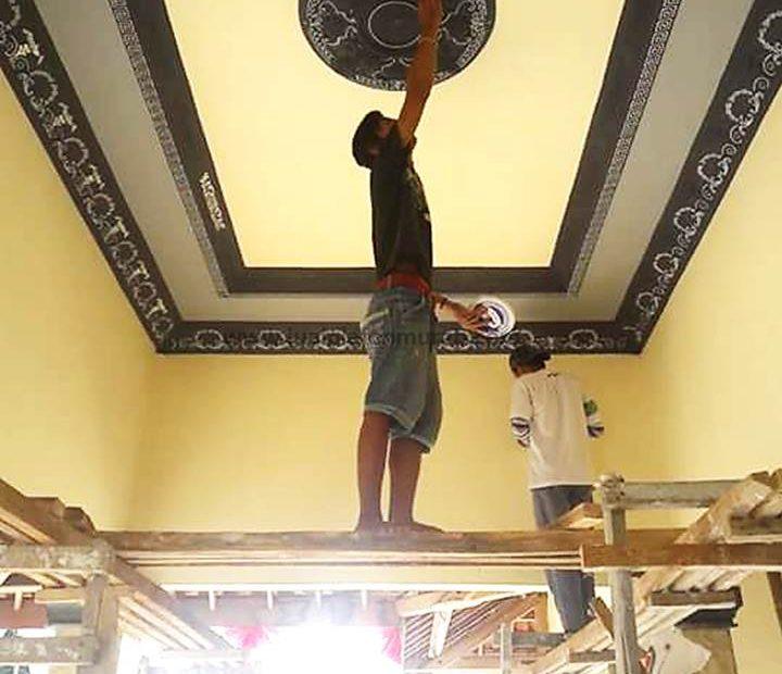 plafon rumah gypsum proses finishing