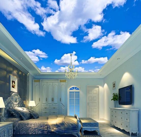 seni lukis awan di atap plafon