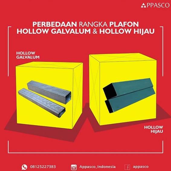 Perbedaan Plafon Rangka Hollow Hijau dan Hollow Galvalum